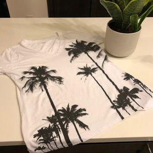 A.N.A. Palm Tree V-Neck Tee Tropical Beach Shirt